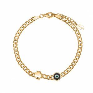 Bracelet-silver-925-gold-plated-with-enamel-evil-eye