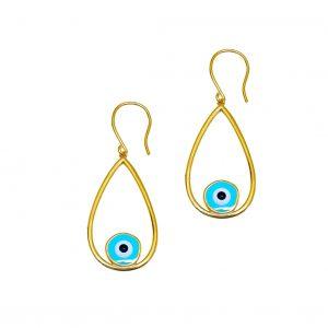Earrings-silver-925-gold-plated-&-with-enamel-evil-eye