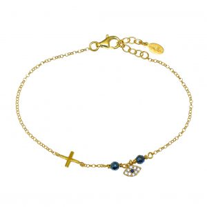 Bracelet-in-silver-925-yellow-gold-plated-with-white-zirconia
