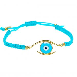 Bracelet-silver-925-gold-plated-&-with-enamel-evil-eye-with-cord