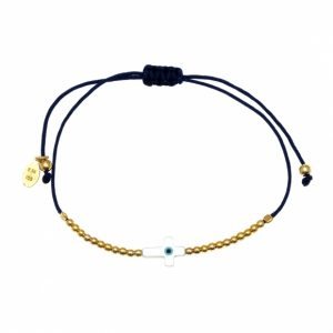 Bracelet-silver-925-yellow-gold-plated-with-an-eye-out-of-fildisi-and-cord