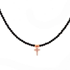Necklace-in-silver-925-pink-gold-plated-with-white-zirconia-and-onyx
