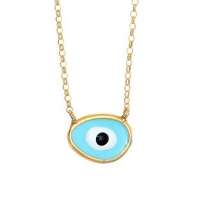 Necklace-silver-925-gold-plated-&-with-enamel-evil-eye