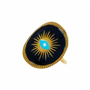 Ring-silver-925-yellow-gold-plated-&-with-enamel-evil-eye 2