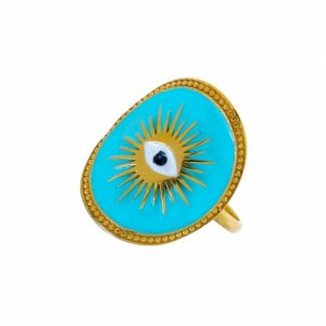 Ring-silver-925-yellow-gold-plated-&-with-enamel-evil-eye