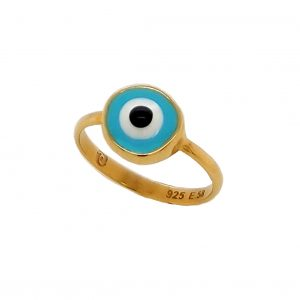 1Ring-silver-925-yellow-gold-plated-&-with-enamel-evil-eye