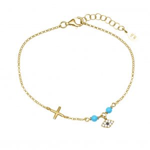 Bracelet-in-silver-925-gold-plated-with-turquoise-&-zirconia
