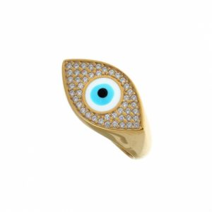 Ring-silver-925-yellow-gold-plated-&-with-enamel-evil-eye-and-zirconia