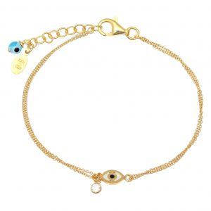 Bracelet-silver-925-gold-plated–with-enamel–evil-eye-and-white-zircon