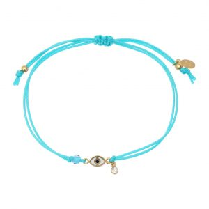 Bracelet-silver-925-gold-plated-&-with-enamel–evil-eye-and-white-zircon-with-cord
