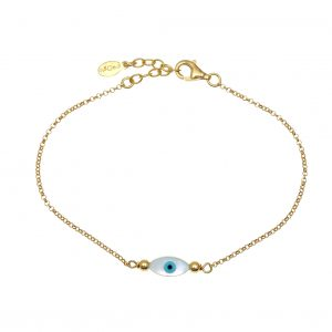 Bracelet-silver-925-yellow-gold-plated-with-an-eye-out-of-fildisi