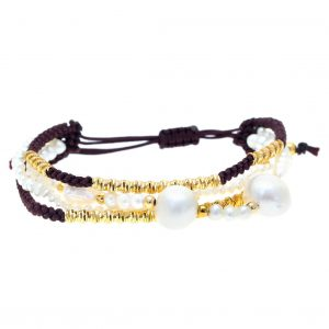 Bracelet-silver-925-yellow-gold-plated-with-cord-and-pearl