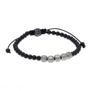 Cord-bracelet-in-silver-925-black-rhodium-plated-with-onyx