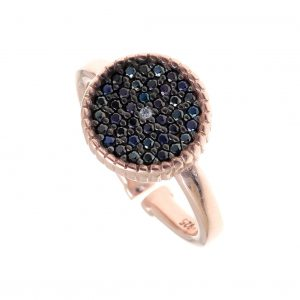 Ring-silver-925–pink-gold-plated-with-black-spinels