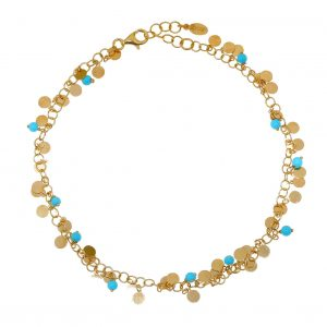 Foot-chain-silver-925-yellow-gold-plated-with-synthetic-stones
