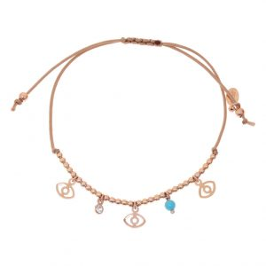 Bracelet-silver-925-pink-gold-plated—with-turqoise-and-white-zirconia-with-cord